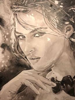 Monica Bellucci portrait painting by Peter Engels