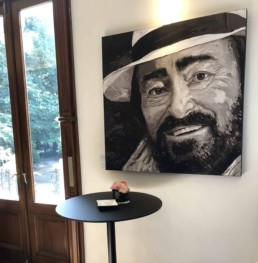 Luciano Pavarotti portrait painting by Peter Engels