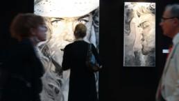 Nicole Kidman and The Kiss portrait painting by Peter Engels, Monaco art fair