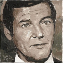 007 James Bond Roger Moore portrait painting by Peter Engels