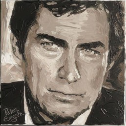 007 James Bond Timothy Dalton portrait painting by Peter Engels