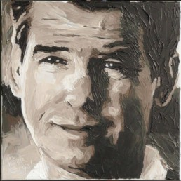 007 James Bond Pierce Brosnan portrait painting by Peter Engels