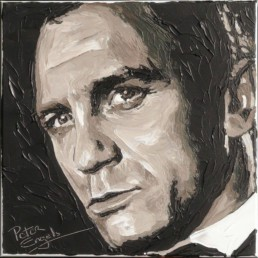 007 James Bond Daniel Craig portrait painting by Peter Engels