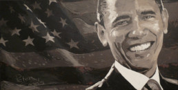 Barack Obama portrait painting by Peter Engels