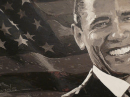 Barack Obama portrait painting by Peter Engels