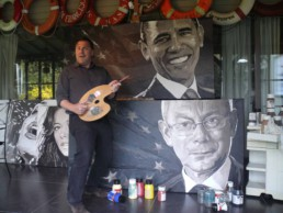 The portrait paintings of the US and the European presidents in the atelier of artist Peter Engels