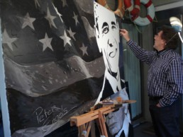Peter Engels working on the Barack Obama portrait painting