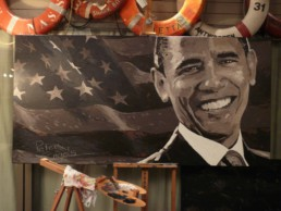 Barack Obama portrait painting in Peter Engels' atelier