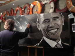 Barack Obama portrait painting in Peter Engels' atelier. Work of art in progress.