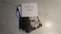 Buch Gesprach uber die Unsterblichkeit-John von Duffel-Karl Lagerfeld painting by Peter Engels