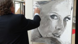 Charlize Theron portrait painting by Peter Engels