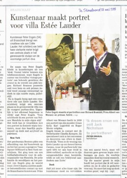 De Standaard-Press article-Estée Lauder portrait painting by Peter Engels
