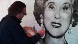 Peter Engels working on the Estee Lauder portrait painting