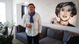 Peter Engels and his portrait painting in Estée Lauder's estate, Cannes, France