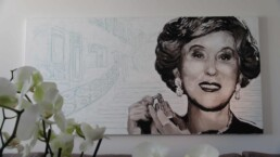 Estee Lauder portrait painting in her house in Cannes-by artist Peter Engels