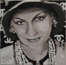Fashion Designers Coco Chanel portrait painting by Peter Engels