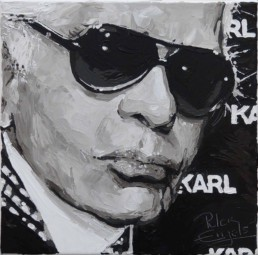 Fashion Designers Karl Lagerfeld portrait painting by Peter Engels