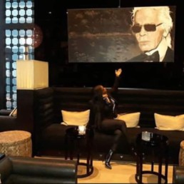 Instagram post from a visitor with the Karl Lagerfeld portrait painting by Peter Engels In the hotel bar of La Reserve, Knokke, Belgium