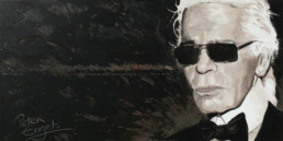 Karl Lagerfeld portrait painting by Peter Engels