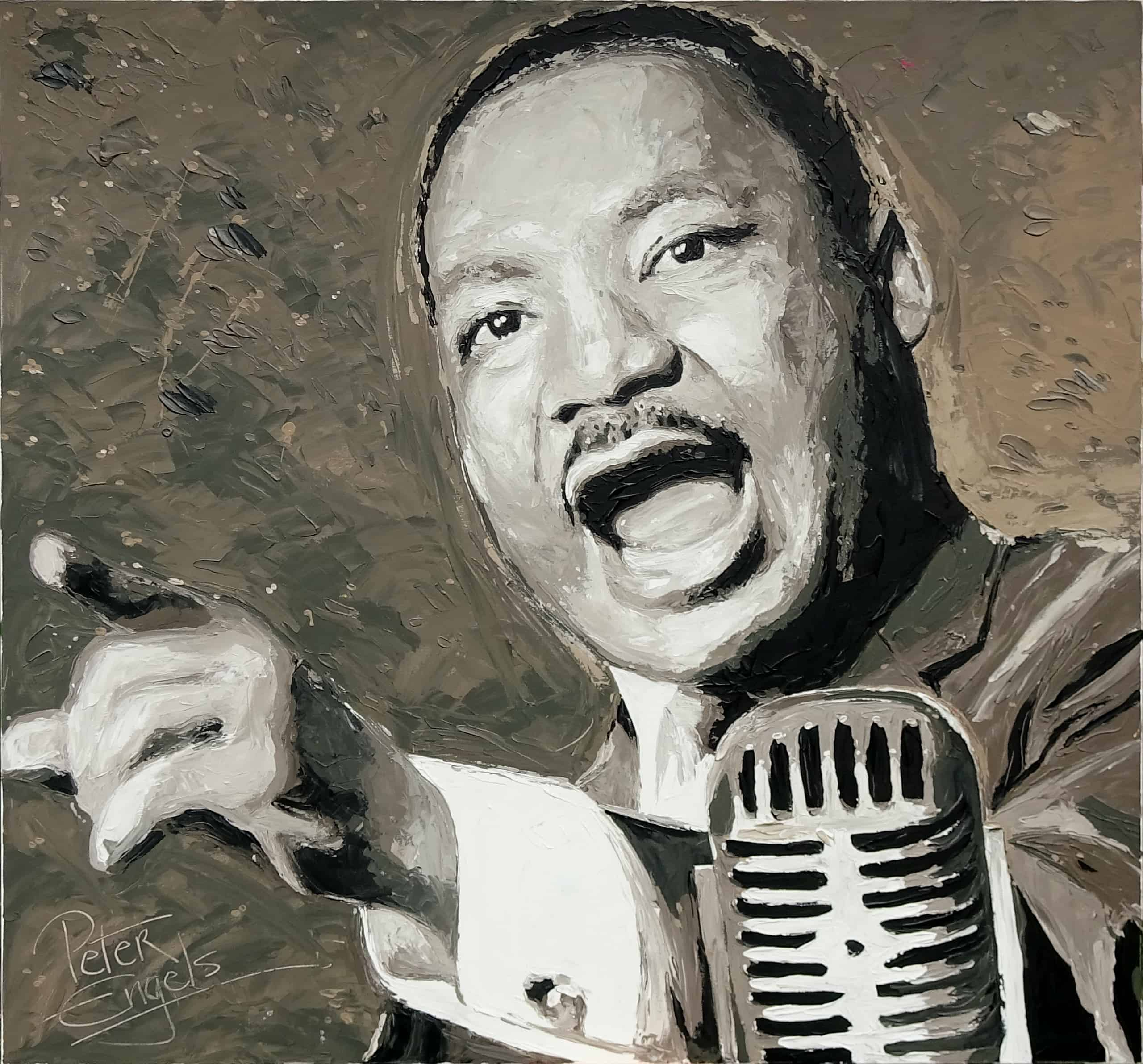Martin Luther King Portrait Painting By Artist Peter Engels