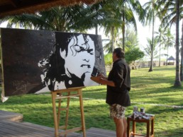 Michael Jackson painted by Peter Engels in Lombok