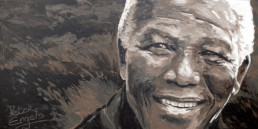 Nelson Mandela painted portrait by PeterEngels