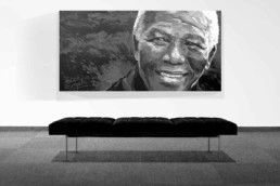 Nelson Mandela portrait painting by Peter Engels