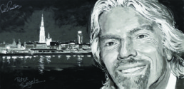 Richard Branson live portrait painting by Peter Engels