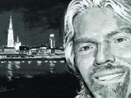 Richard Branson live portrait painting by Peter Engels
