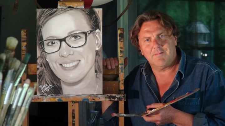Commission portrait painting. Geschilderd portret in opdracht. Portrait peint sur commande. Im auftrag gemaltes porträt.