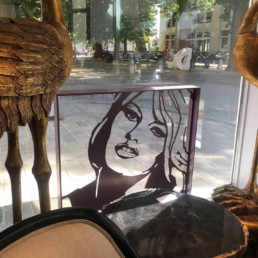 Brigitte Bardot sculpture by Peter Engels in the window of the Anthony Short Gallery, Brugge