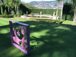 The Brigitte Bardot sculpture by artist Peter Engels in the sunny garden of Chateau La Cima, Mont Boron, Villefranche sur Mer, France