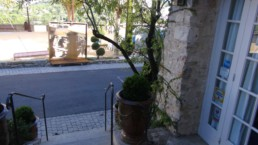 The Roger Vergé sculpture in Corten steel is permanently placed on the Vergé Square in the old village of Mougins, France, opposite to his restaurant l'Amandier