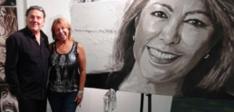 Portrait of Nina Torres, owner of the Miami art gallery, portrait painting by Peter Engels