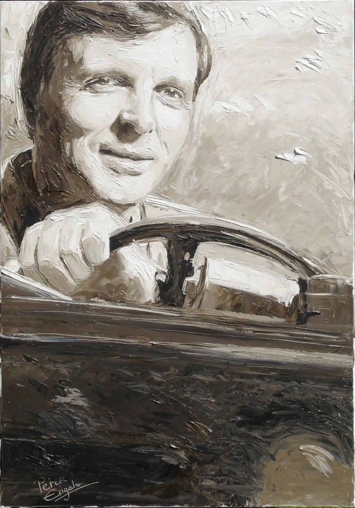 Ebbe Pelle Jacobsen in his Jeep portrait painting by Peter Engels