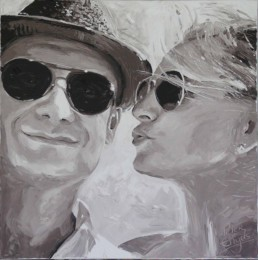 Inge Vandijck and Luc Smeyers wedding portrait painting by Peter Engels