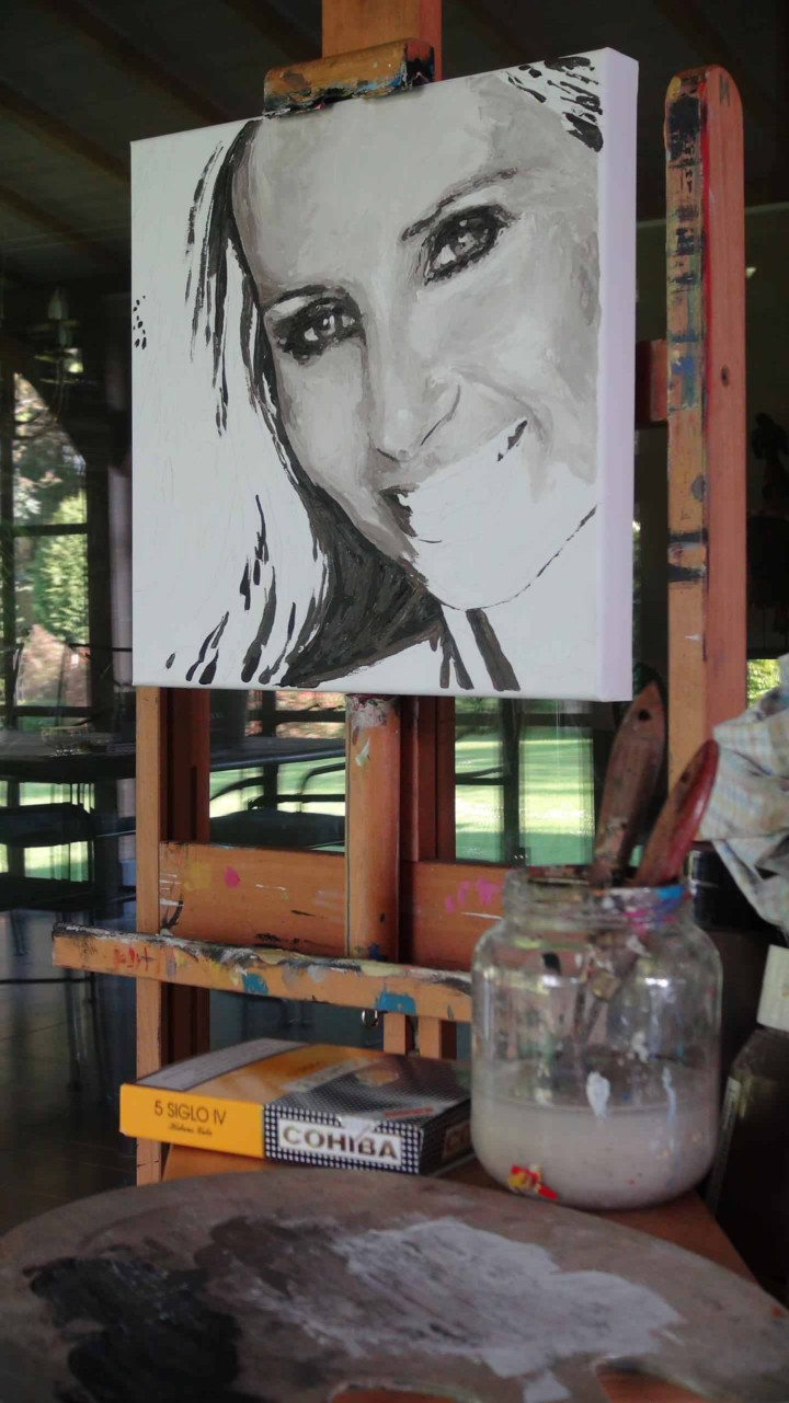 Wife of Marc Coucke, Nathalie Coucke. Portrait painting by Peter Engels in progress.