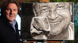 Erwin Devriendt, CEO of I-Mens and French wine chateau owner in the Provence received this portrait as an award. In the portrait that artist Peter Engels painted, Erwin Devriendt shows off his own vintage organic wine Clos de Frères, appellation Vacqueyras.
