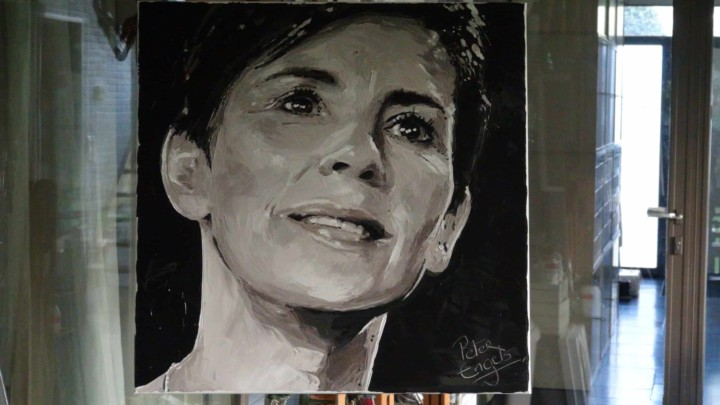 Entrepreneur and Manager of the Year Inge Geerdens. Portrait painting by Peter Engels