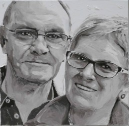 Parents of entrepreneur of the year Inge Geerdens. Portrait painting by Peter Engels