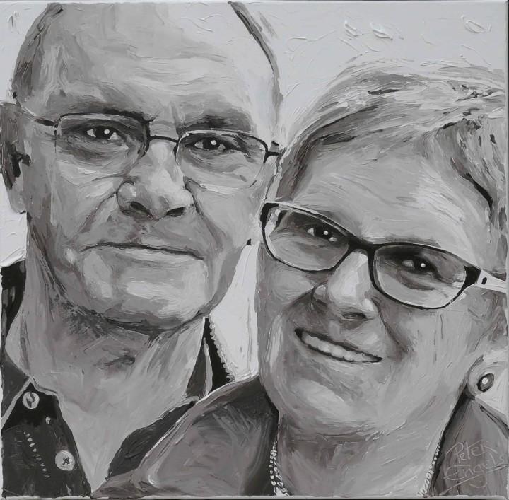 Parents of entrepreneur of the year Inge Geerdens. Portrait painting by Peter Engels