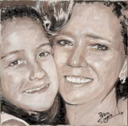 Ina Meertens and her daughter. Commission portrait painting by Peter Engels