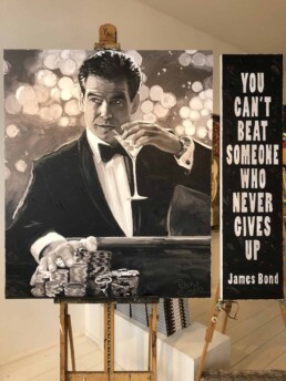 James Bond actor Pierce Brosnan portrait painting by Peter Engels