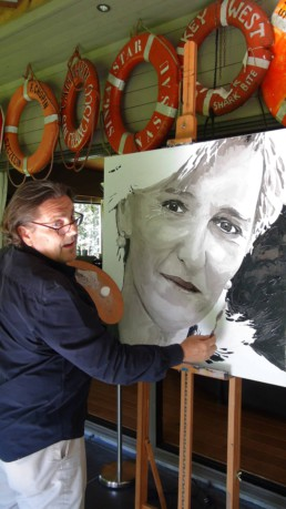 Peter Engels working on the Princess Astrid portrait painting in his atelier