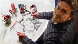 Peter Engels making the sketches for the Jordan Queen Rania sculpture