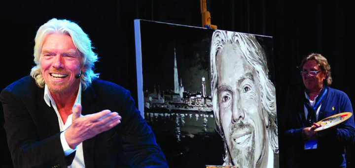 Richard Branson congratulating Peter Engels with the live painted portrait