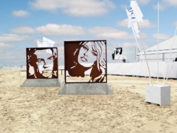 Sean Connery and Brigitte Bardot sculptures by Peter Engels on the beach in Knokke, Belgium