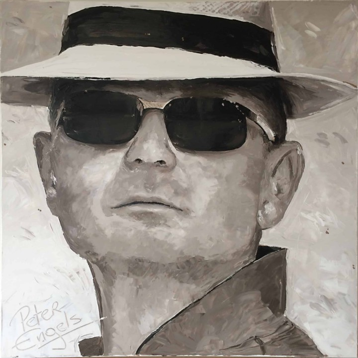 Sunglasses. Commission portrait painting by Peter Engels