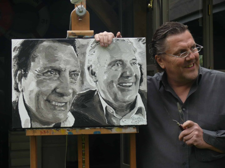 Successfull business partners portrait painting by Peter Engels