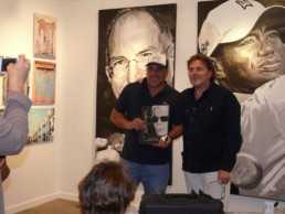 Miami based artist Leonardo Hidalgo and Peter Engels aboard mega yacht Sea Fair in Miami